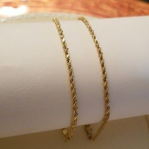 Two Matching 10K Gold Rope Bracelets